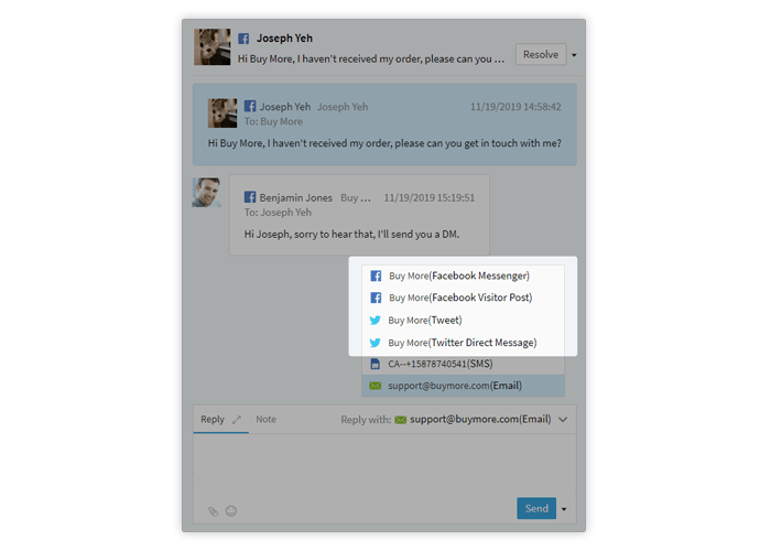 with comm100 ticketing and messaging, you can manage both direct and public messages on social media in one place