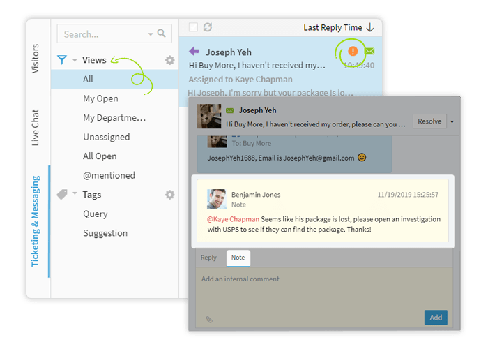 comm100 ticketing and messaging enables you to prioritize your work via custom views, tags, and filters