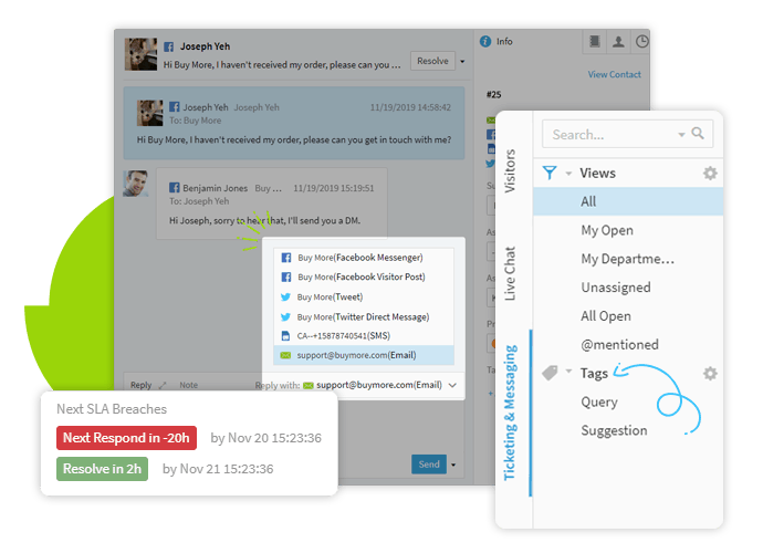 when customer inquires are complex, you can create a ticket on comm100 and add priority on it to solve it later