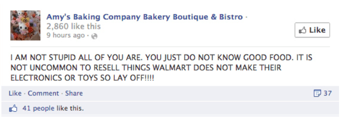 social media customer service Amy's Baking Company