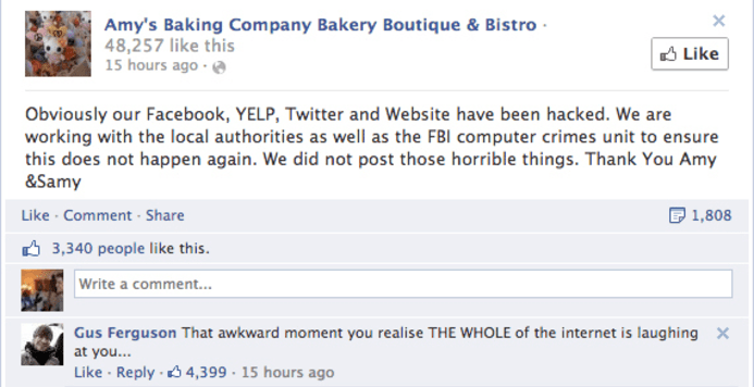 social media customer service Amy's Baking Company Amy's Baking Company