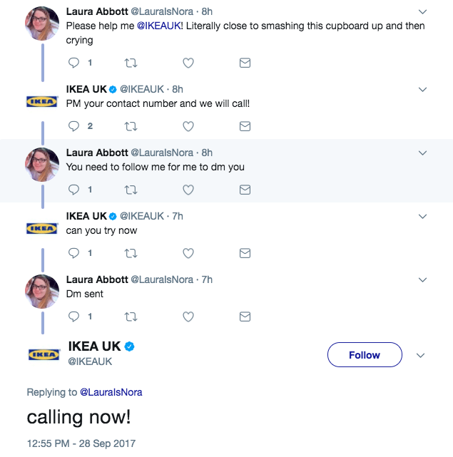 social media customer service Ikea UK