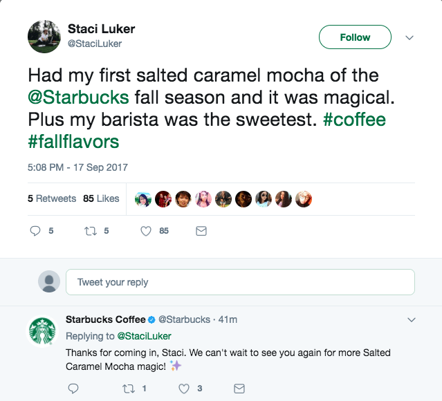 social media customer service Starbuck Coffee