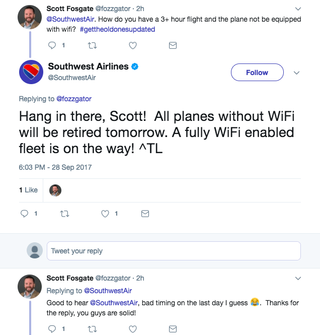 social media customer service Southwest Airlines
